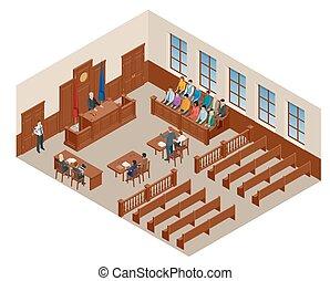 isometric, ügyvéd, igazságosság, audience., jelkép, ábra, bírói szék, courtroom., eljárás, vektor, tárgyalóterem, bíró, törvény, vádlott