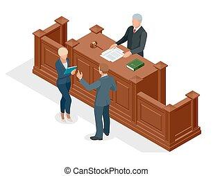 isometric, ügyvéd, igazságosság, audience., jelkép, ábra, bírói szék, courtroom., vektor, tárgyalóterem, proceedings., bíró, törvény, vádlott