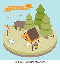 isometric, 3, erdő, kempingezés, ikon
