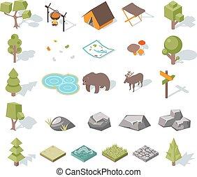 isometric, alapismeretek, kempingezés, tervezés, erdő, táj, 3