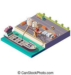 isometric, berakodás, vektor, hajó, tartálykocsi, rév
