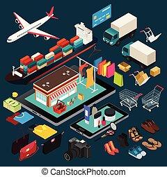 isometric, bevásárlás, ábra, hajózás