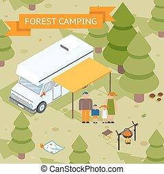isometric, erdő, család sátortábor