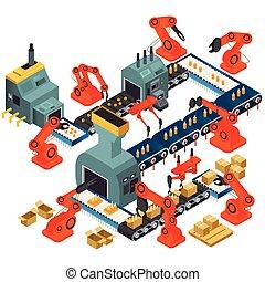 isometric, feldolgozás, tervezés, berendezés, automatizált