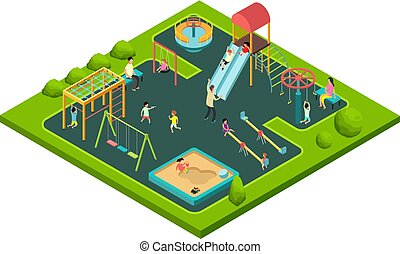 isometric, gyerekek, emberek, equipment., kevés, karikatúra, gyerekek, játék, vektor, szülők, játszótér, játék, 3