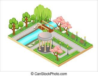 isometric, háromkiterjedésű, színes, ábra, keleti, fasor, tervezés, bridge., kert