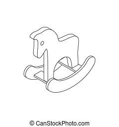 isometric, játékszer, mód, ikon, ló, 3