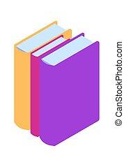 isometric, könyv, könyvtár, ikon, elektronikus, jelkép
