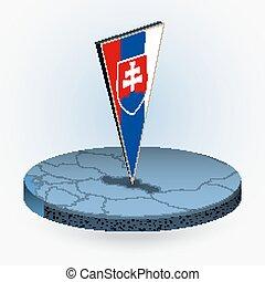 isometric, kerek, háromszögű, mód, térkép, 3, lobogó, slovakia