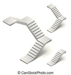 isometric, lépcsőház, elszigetelt, ábra, vektor, fehér