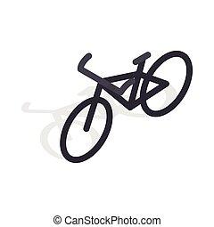isometric, mód, bicikli, fekete, ikon, 3