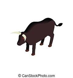 isometric, mód, fekete, bika, ikon, 3