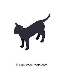 isometric, mód, macska, fekete, ikon, 3
