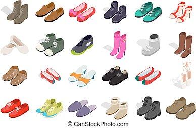 isometric, nő, cipők, állhatatos, mód, ikon, ember