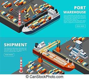 isometric, szállítás, rakomány, hajózás, hajó, vektor, tenger, szalagcímek, daru, tengeri kikötő, horizontális, tároló