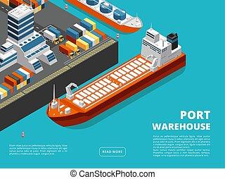 isometric, szállítás, tenger, hajózás, tengeri kikötő, háttér, rakomány, horizontális