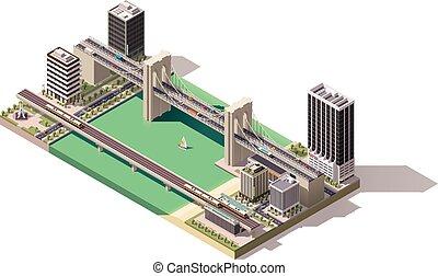 isometric, térkép, vektor, város