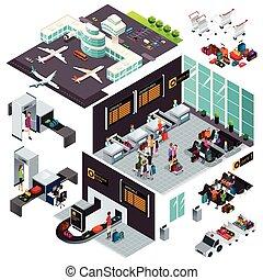 isometric, tervezés, repülőtér