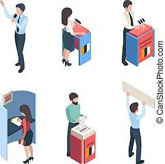 isometric., válogatott, szavazás, beszélók, vektor, betűk, politikai, politic, emberek, kampány, riporter, szavaz