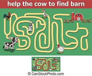 istálló, segítség, tehén, talál