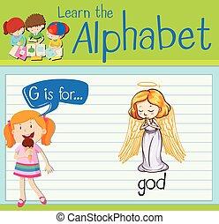 isten, levél g, flashcard