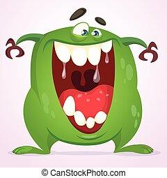 iszapos, zöld szörny, karikatúra
