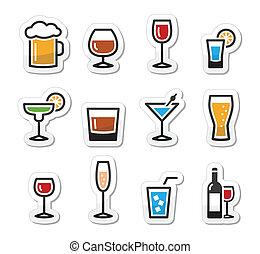 ital, állhatatos, alkohol, ital, ikonok