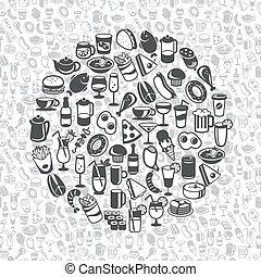 ital, ikonok, élelmiszer