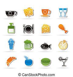 ital, ital, élelmiszer, ikonok