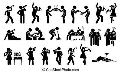 ivás, alkoholista, nő, drunk., míg, ember, tütü