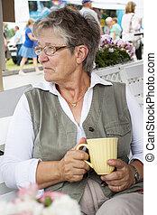 ivás, nő, öreg, kávécserje