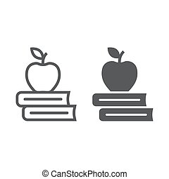 izbogis, 10., alma, motívum, eps, könyvtár, aláír, oktatás, ikon, vektor, előjegyez, grafika, fehér, glyph, egyenes, háttér, lineáris