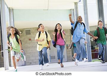 izbogis, ajtó, diákok, el, hat, futás, elülső, izgatott