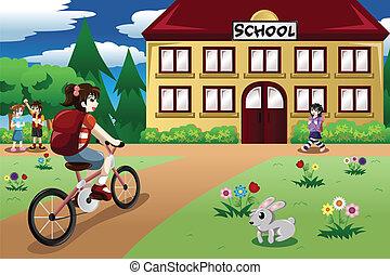 izbogis, bicikli, diák, alapvető, lovaglás, leány