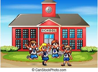 izbogis, boldog, elülső, diák, épület