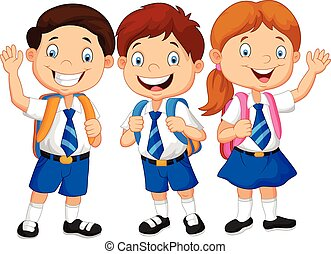 izbogis, boldog, gyerekek, karikatúra