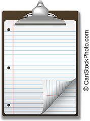 izbogis, csipeszes írótábla, jegyzetfüzet papír, sarok, becsavar, oldal, vonalas