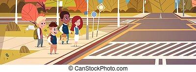 izbogis, csoport, fény, kereszt, várakozás, zöld, forgalom, gyalogátkelőhely, gyerekek, út