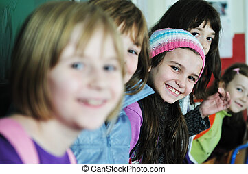 izbogis, csoport, gyerekek, boldog