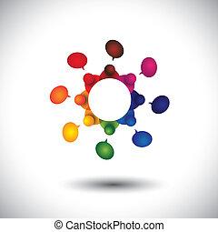 izbogis, fogalom, gyerekek, beszéd, vektor, munkavállaló, gyűlés, vagy, cir