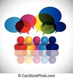 izbogis, fogalom, hivatal, gyerekek, beszéd, vektor, gyűlés, vagy, bot