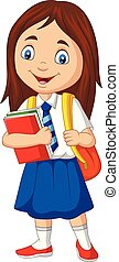 izbogis, hátizsák, egyenruha, könyv, leány, karikatúra