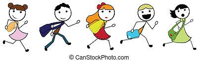 izbogis, haladó, gyerekek, karikatúra, bot