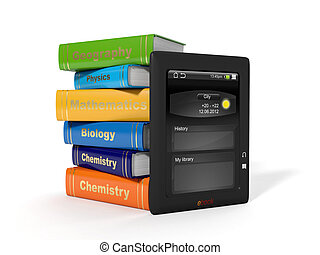 izbogis, iskolakönyvek, e-book., magas, illustration:, 3