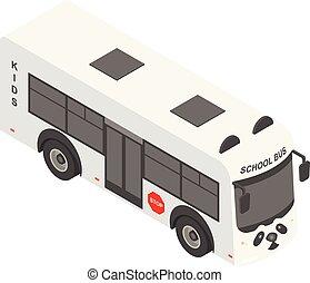 izbogis, isometric, autóbusz, mód, ikon, panda