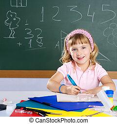 izbogis, mosolygós, diák, leány, gyerekek, boldog