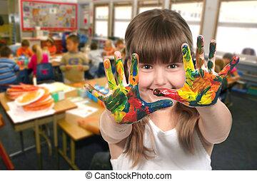 izbogis, neki, életkor, kézbesít, gyermekek festmény, osztály