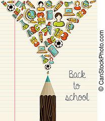 izbogis, oktatás, pencil., hát, ikonok
