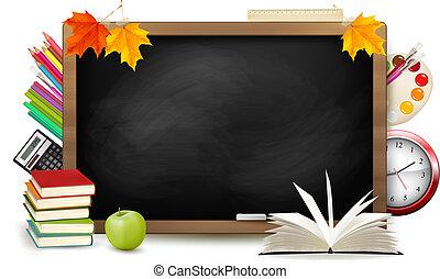 izbogis, school., tábla, hát, supplies., vector.