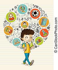 izbogis, színes, ikonok, boy., hát, oktatás, karikatúra